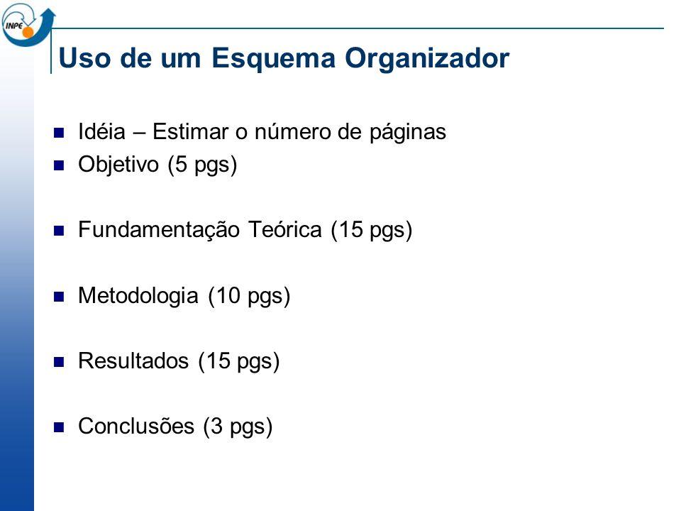 Uso de um Esquema Organizador Idéia – Estimar o número de páginas Objetivo (5 pgs) Fundamentação Teórica (15 pgs) Metodologia (10 pgs) Resultados (15 pgs) Conclusões (3 pgs)