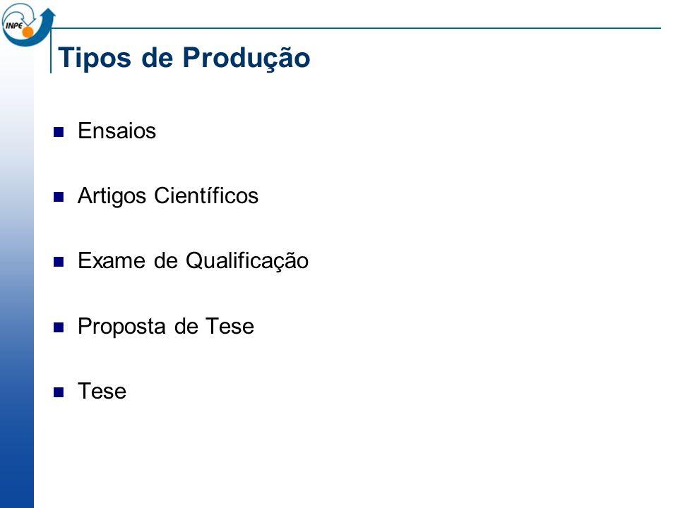 Tipos de Produção Ensaios Artigos Científicos Exame de Qualificação Proposta de Tese Tese