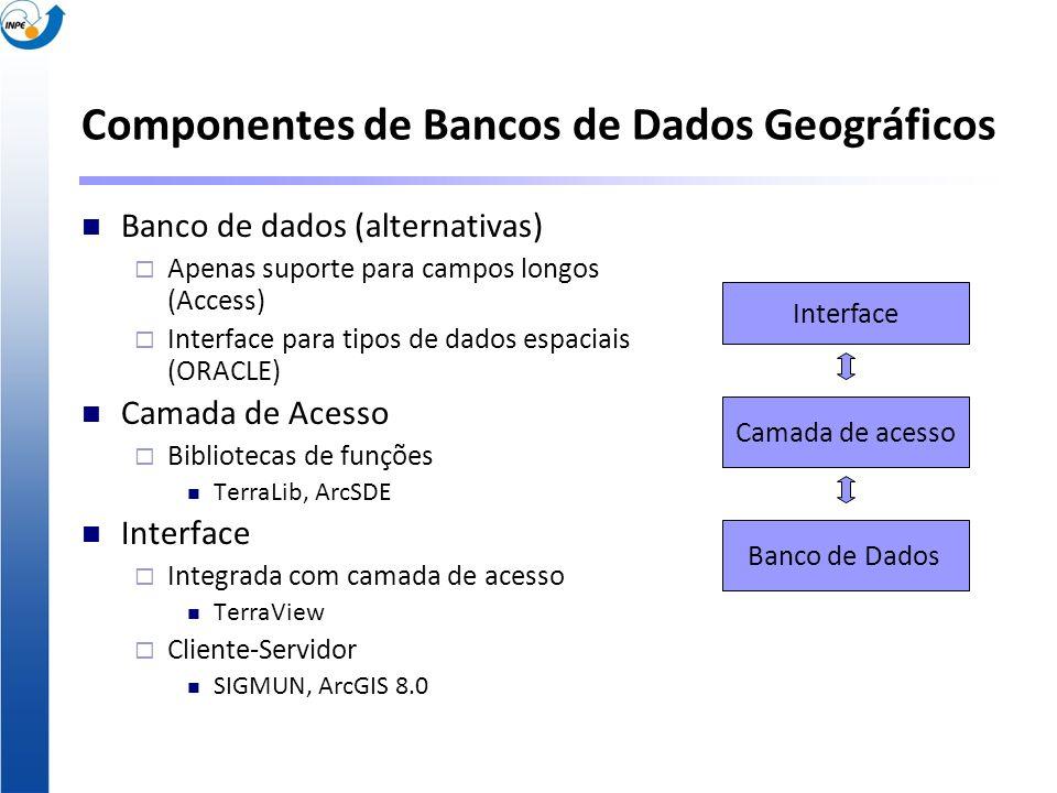 Componentes de Bancos de Dados Geográficos Banco de dados (alternativas) Apenas suporte para campos longos (Access) Interface para tipos de dados espa