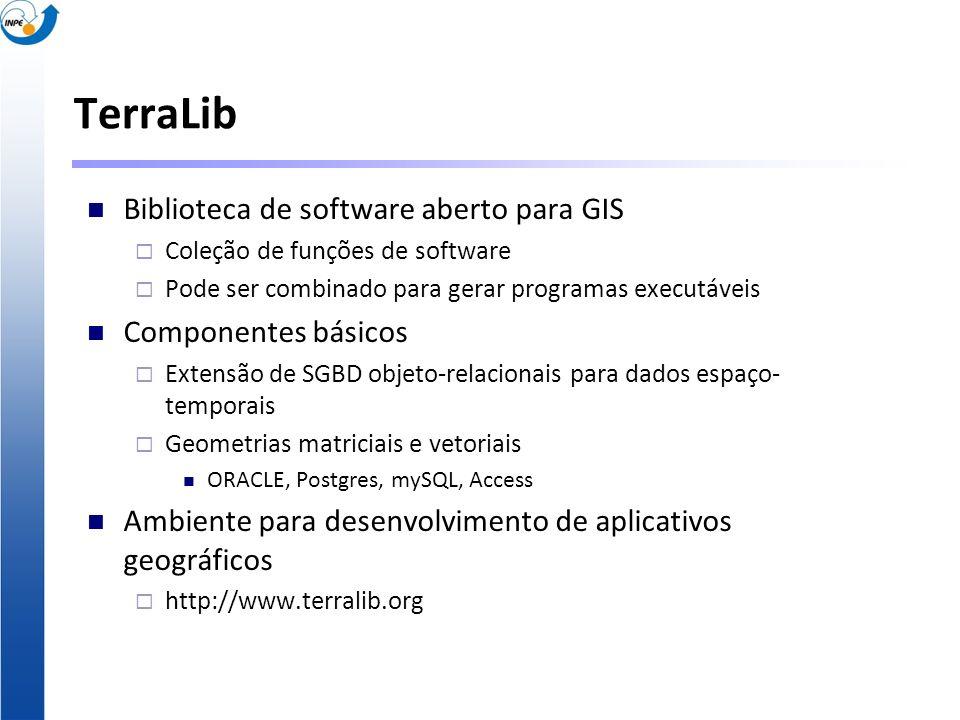 TerraLib Biblioteca de software aberto para GIS Coleção de funções de software Pode ser combinado para gerar programas executáveis Componentes básicos