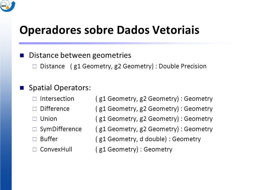 Operadores sobre Dados Vetoriais Distance between geometries Distance ( g1 Geometry, g2 Geometry) : Double Precision Spatial Operators: Intersection(
