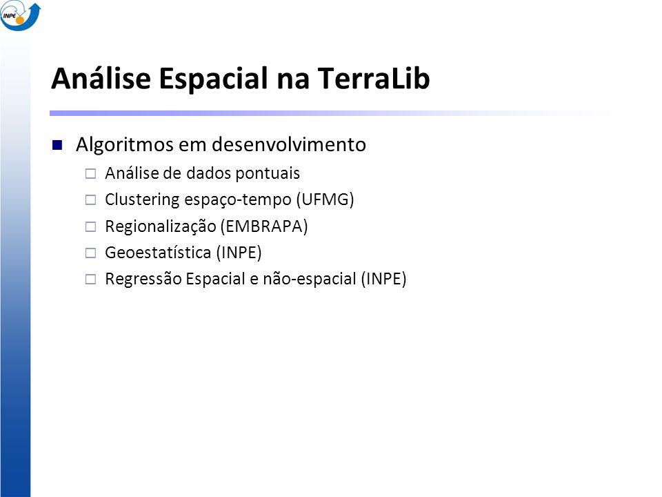 Análise Espacial na TerraLib Algoritmos em desenvolvimento Análise de dados pontuais Clustering espaço-tempo (UFMG) Regionalização (EMBRAPA) Geoestatí