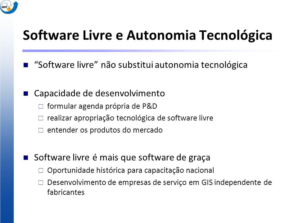 Software Livre e Autonomia Tecnológica Software livre não substitui autonomia tecnológica Capacidade de desenvolvimento formular agenda própria de P&D