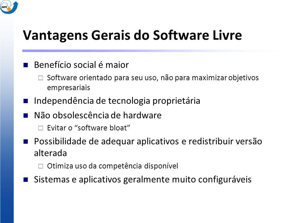 Vantagens Gerais do Software Livre Benefício social é maior Software orientado para seu uso, não para maximizar objetivos empresariais Independência d