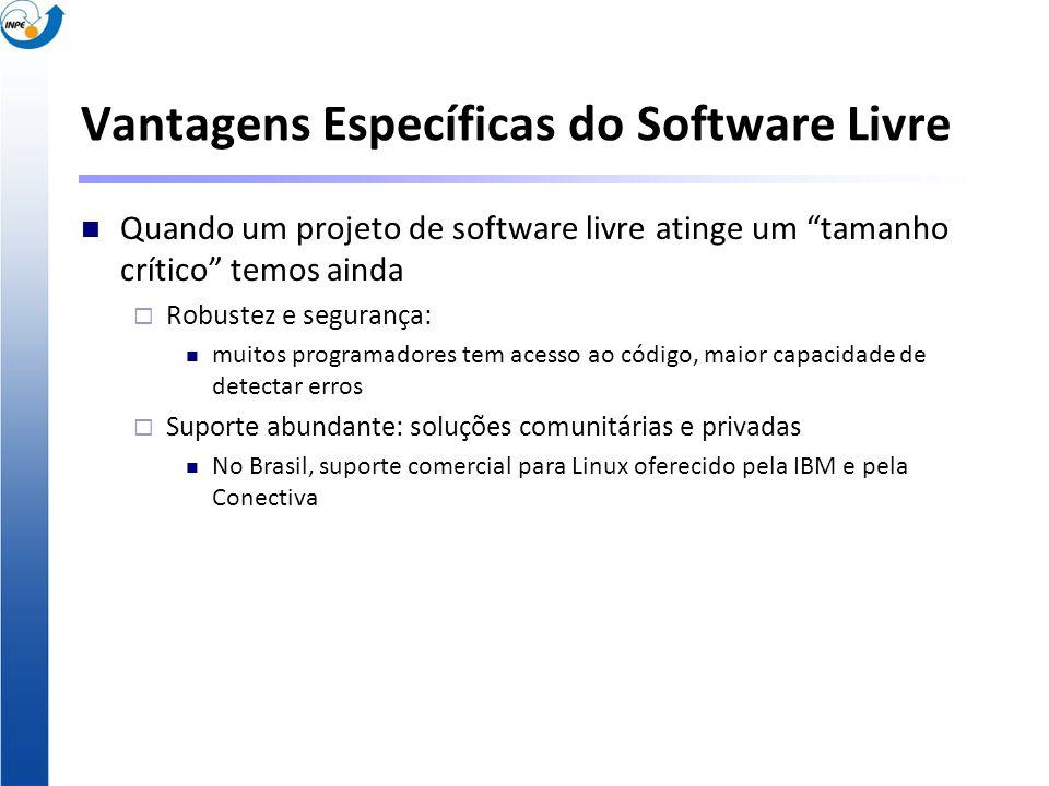 Vantagens Específicas do Software Livre Quando um projeto de software livre atinge um tamanho crítico temos ainda Robustez e segurança: muitos program