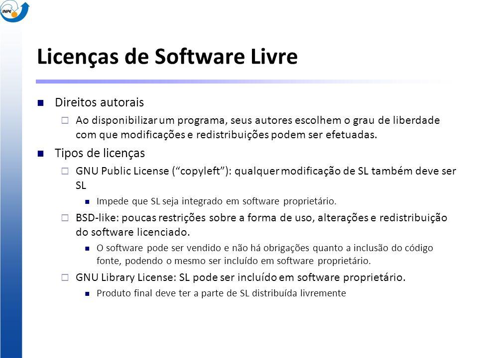 Licenças de Software Livre Direitos autorais Ao disponibilizar um programa, seus autores escolhem o grau de liberdade com que modificações e redistrib