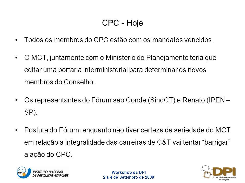 Workshop da DPI 2 a 4 de Setembro de 2009 11 CPC - Hoje Todos os membros do CPC estão com os mandatos vencidos. O MCT, juntamente com o Ministério do