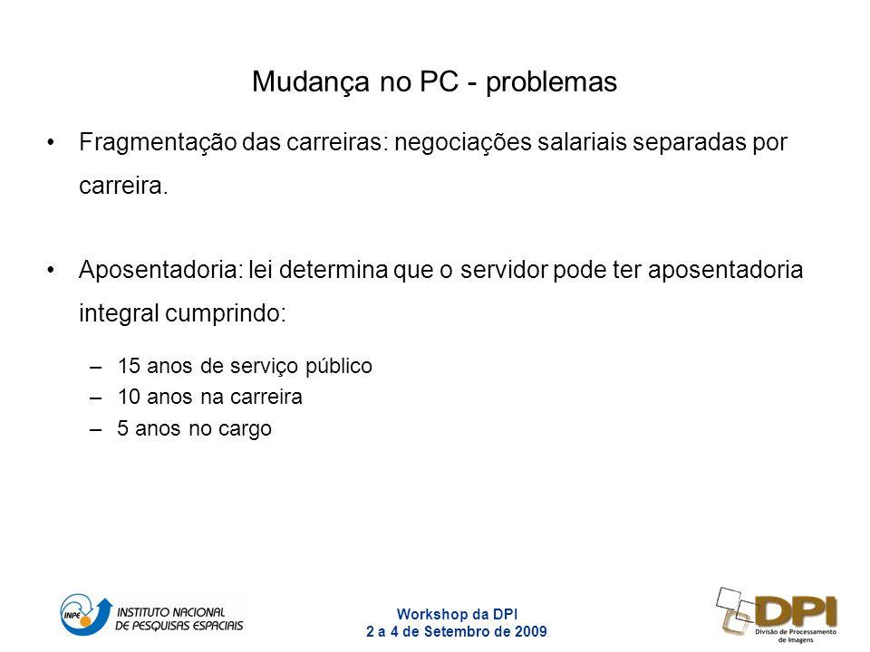 Workshop da DPI 2 a 4 de Setembro de 2009 12 Mudança no PC - problemas Fragmentação das carreiras: negociações salariais separadas por carreira. Apose