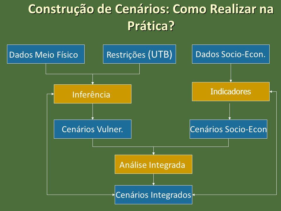 Construção de Cenários: Como Realizar na Prática? Dados Meio Físico Inferência Restrições (UTB) Cenários Vulner. Dados Socio-Econ. Indicadores Cenário