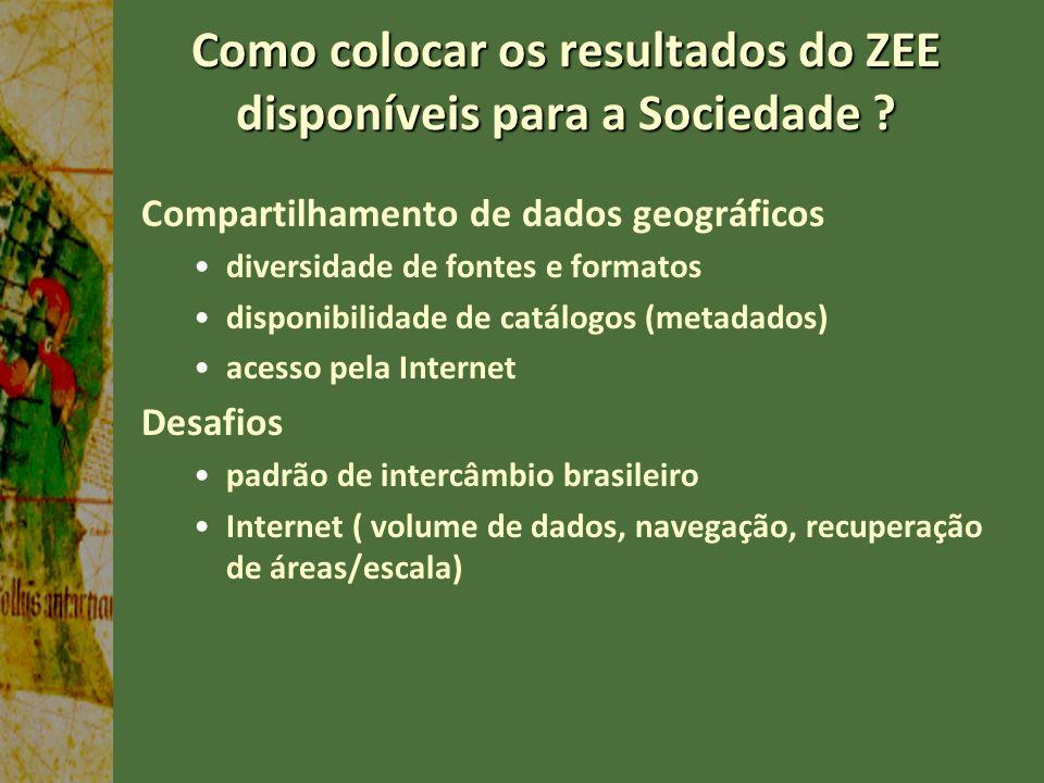 Como colocar os resultados do ZEE disponíveis para a Sociedade ? Compartilhamento de dados geográficos diversidade de fontes e formatos disponibilidad