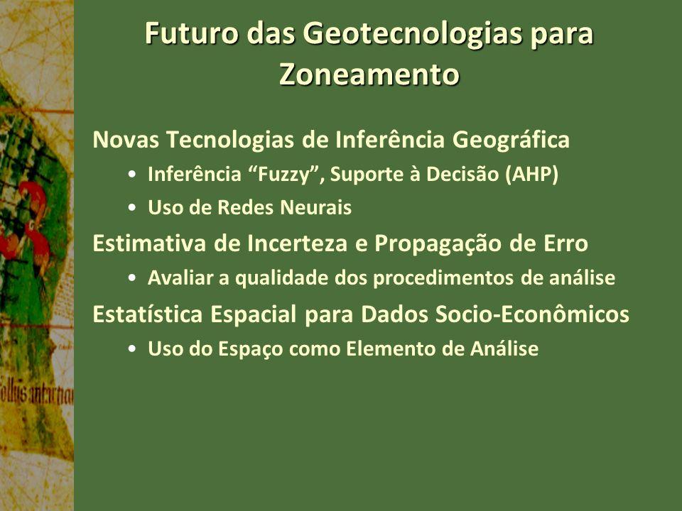 Futuro das Geotecnologias para Zoneamento Novas Tecnologias de Inferência Geográfica Inferência Fuzzy, Suporte à Decisão (AHP) Uso de Redes Neurais Es