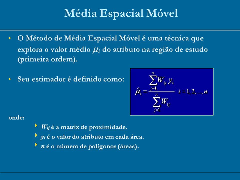 Média Espacial Móvel O Método de Média Espacial Móvel é uma técnica que explora o valor médio i do atributo na região de estudo (primeira ordem). Seu