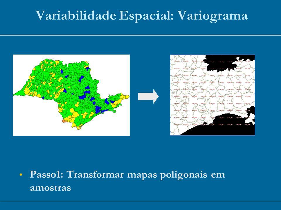 Variabilidade Espacial: Variograma Passo1: Transformar mapas poligonais em amostras