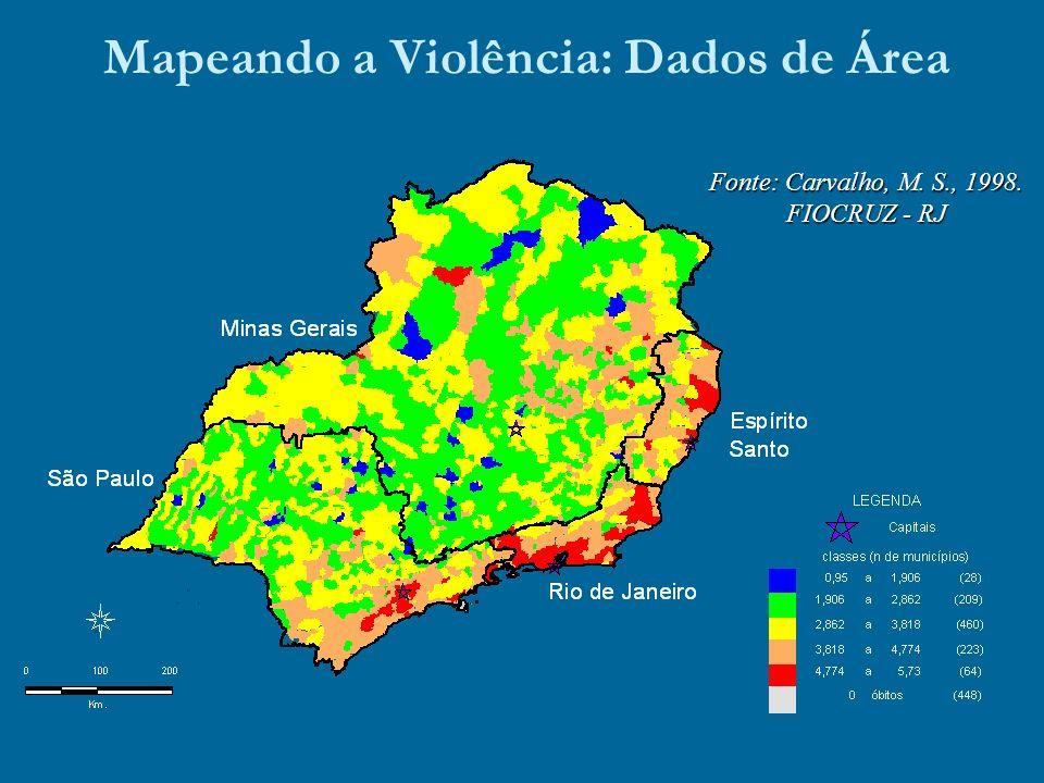 Mapeando a Violência: Dados de Área Fonte: Carvalho, M. S., 1998. FIOCRUZ - RJ