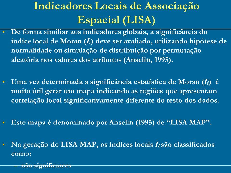 De forma similiar aos indicadores globais, a significância do índice local de Moran ( I i ) deve ser avaliado, utilizando hipótese de normalidade ou s