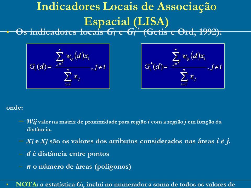 Os indicadores locais G i e G i * (Getis e Ord, 1992): onde: –w ij valor na matriz de proximidade para região i com a região j em função da distância.