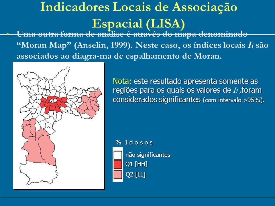 Indicadores Locais de Associação Espacial (LISA) Uma outra forma de análise é através do mapa denominado Moran Map (Anselin, 1999). Neste caso, os índ