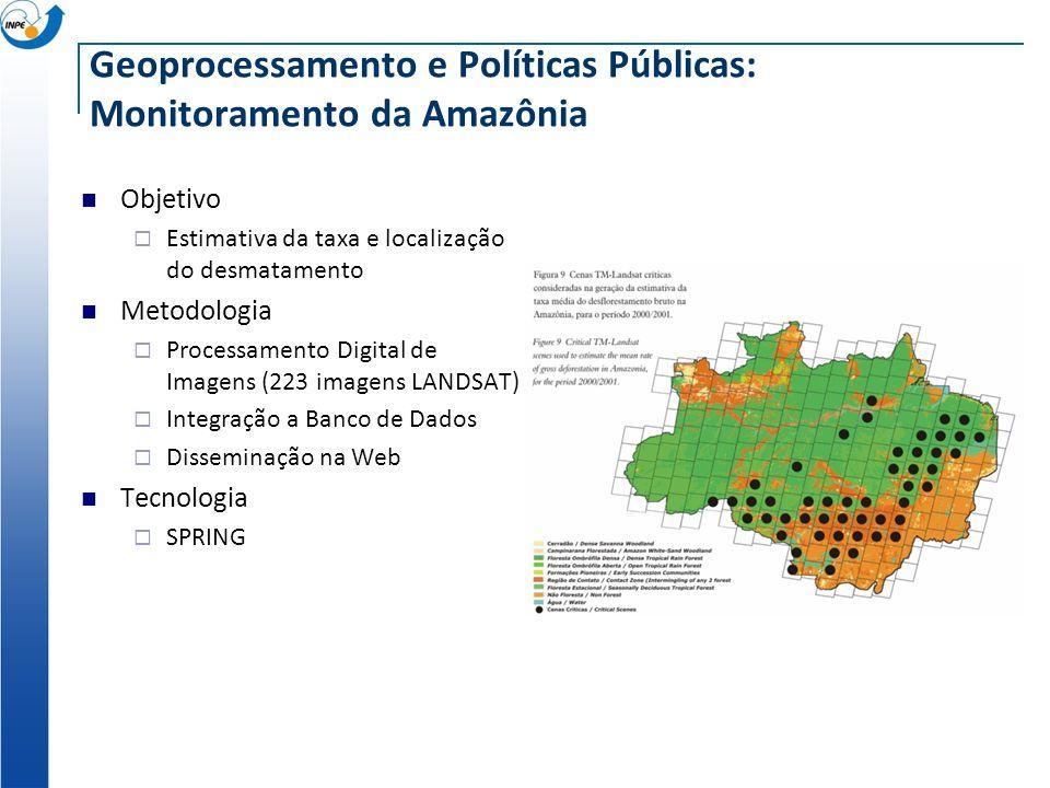 Geoprocessamento e Políticas Públicas: Monitoramento da Amazônia Objetivo Estimativa da taxa e localização do desmatamento Metodologia Processamento D