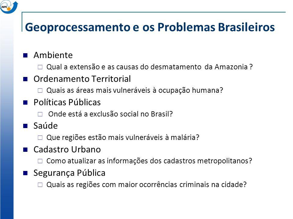 Geoprocessamento e os Problemas Brasileiros Ambiente Qual a extensão e as causas do desmatamento da Amazonia ? Ordenamento Territorial Quais as áreas