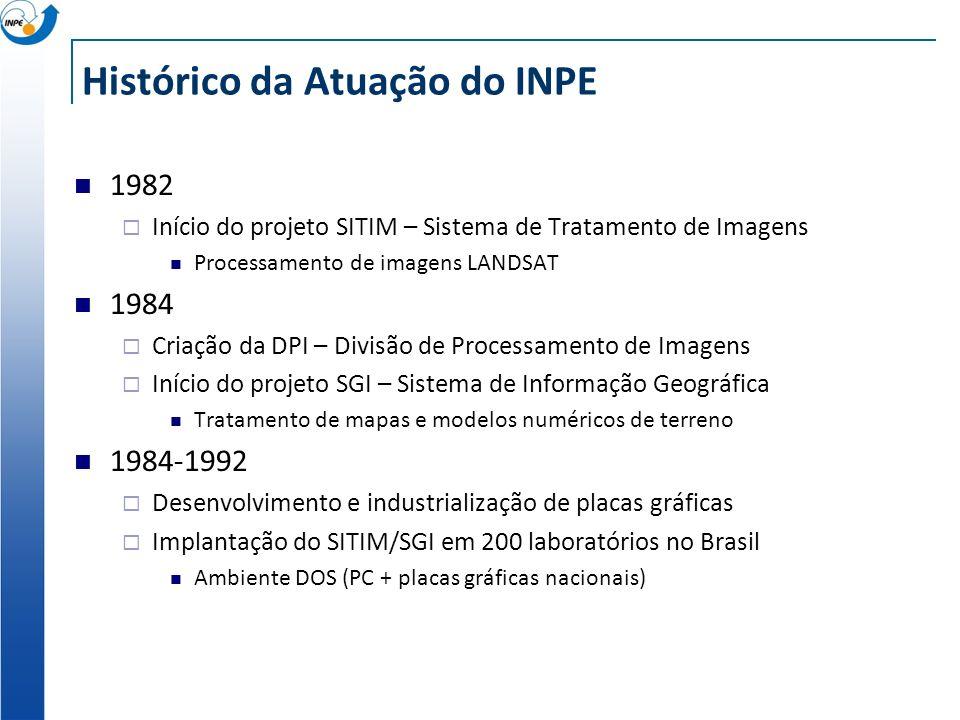 Histórico da Atuação do INPE 1982 Início do projeto SITIM – Sistema de Tratamento de Imagens Processamento de imagens LANDSAT 1984 Criação da DPI – Di