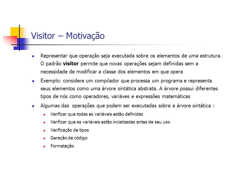 Visitor – Motivação Representar que operação seja executada sobre os elementos de uma estrutura. O padrão visitor permite que novas operações sejam de
