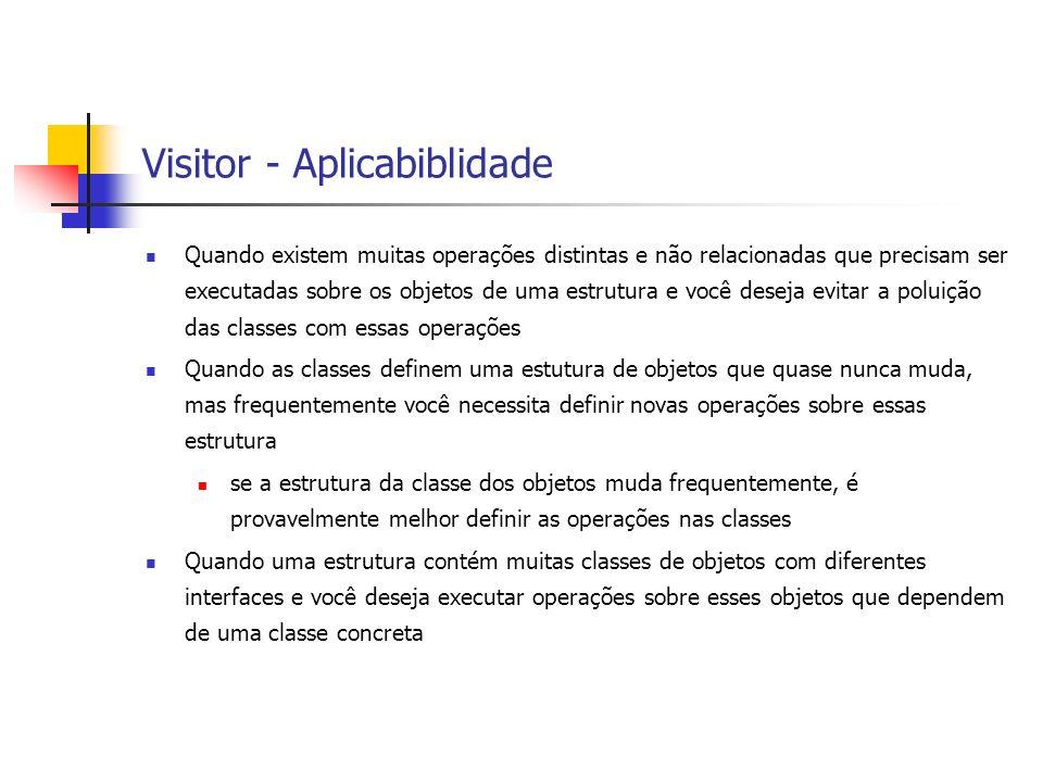 Visitor - Aplicabiblidade Quando existem muitas operações distintas e não relacionadas que precisam ser executadas sobre os objetos de uma estrutura e