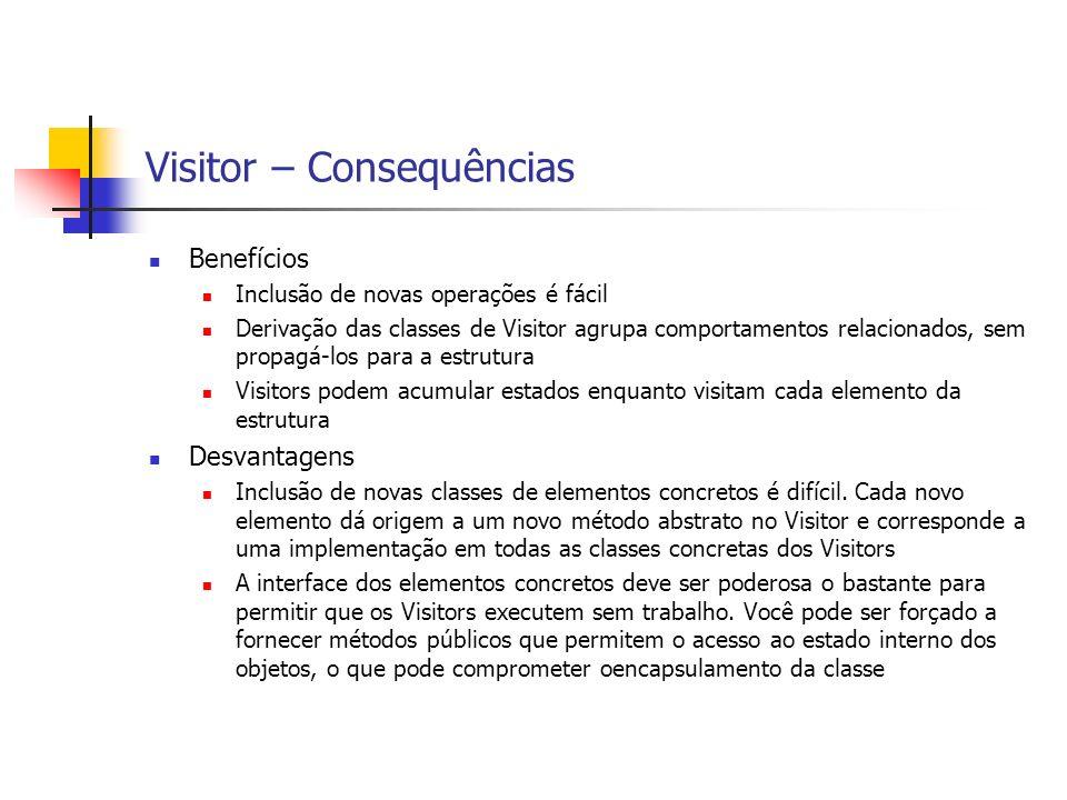 Visitor – Consequências Benefícios Inclusão de novas operações é fácil Derivação das classes de Visitor agrupa comportamentos relacionados, sem propag