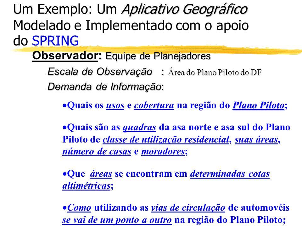 Aplicativo Geográfico Um Exemplo: Um Aplicativo Geográfico Modelado e Implementado com o apoio do SPRING : Equipe de Planejadores Observador: Equipe d