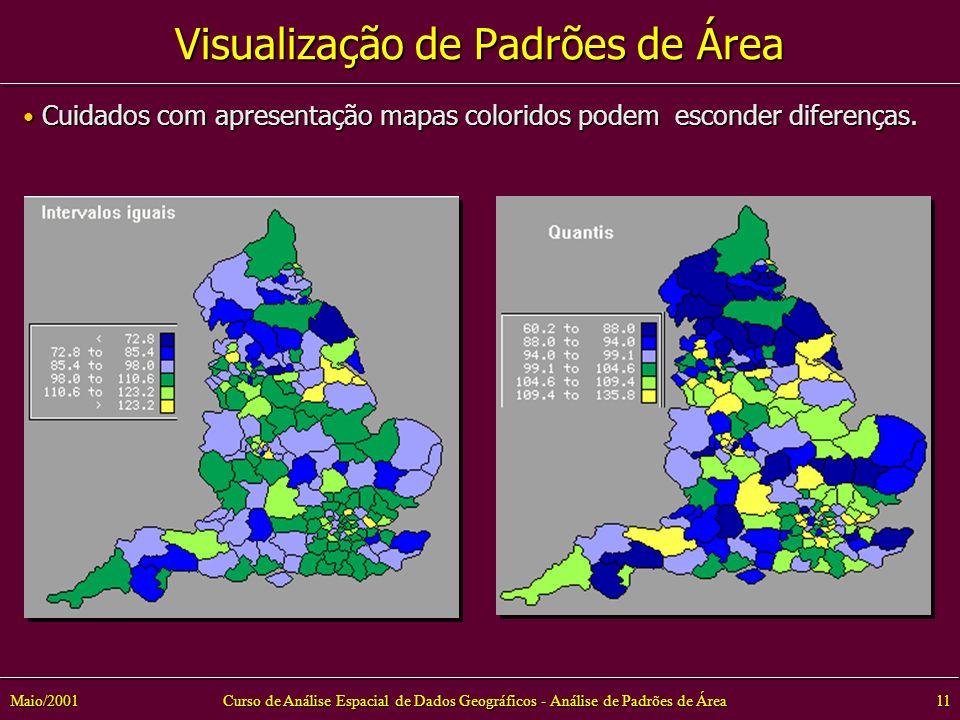 Curso de Análise Espacial de Dados Geográficos - Análise de Padrões de Área11Maio/2001 Visualização de Padrões de Área Cuidados com apresentação mapas coloridos podem esconder diferenças.