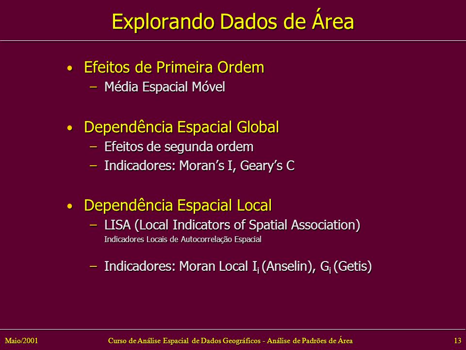Curso de Análise Espacial de Dados Geográficos - Análise de Padrões de Área13Maio/2001 Explorando Dados de Área Efeitos de Primeira Ordem Efeitos de Primeira Ordem –Média Espacial Móvel Dependência Espacial Global Dependência Espacial Global –Efeitos de segunda ordem –Indicadores: Morans I, Gearys C Dependência Espacial Local Dependência Espacial Local –LISA (Local Indicators of Spatial Association) Indicadores Locais de Autocorrelação Espacial Indicadores Locais de Autocorrelação Espacial –Indicadores: Moran Local I i (Anselin), G i (Getis)