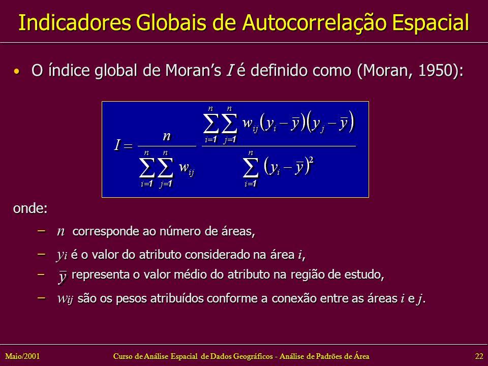 Curso de Análise Espacial de Dados Geográficos - Análise de Padrões de Área22Maio/2001 Indicadores Globais de Autocorrelação Espacial O índice global de Morans I é definido como (Moran, 1950): O índice global de Morans I é definido como (Moran, 1950):onde: – n corresponde ao número de áreas, – y i é o valor do atributo considerado na área i, – representa o valor médio do atributo na região de estudo, – w ij são os pesos atribuídos conforme a conexão entre as áreas i e j.
