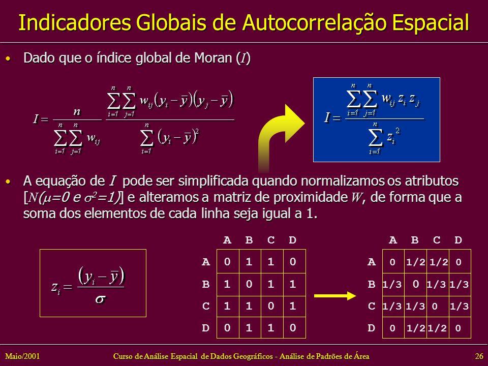 Curso de Análise Espacial de Dados Geográficos - Análise de Padrões de Área26Maio/2001 Dado que o índice global de Moran ( I ) Dado que o índice global de Moran ( I ) A equação de I pode ser simplificada quando normalizamos os atributos [ N ( =0 e =1)] e alteramos a matriz de proximidade W, de forma que a soma dos elementos de cada linha seja igual a 1.
