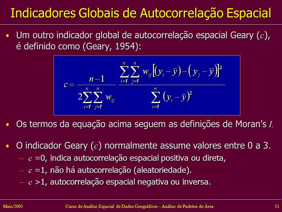 Curso de Análise Espacial de Dados Geográficos - Análise de Padrões de Área31Maio/2001 Um outro indicador global de autocorrelação espacial Geary ( c ), é definido como (Geary, 1954): Um outro indicador global de autocorrelação espacial Geary ( c ), é definido como (Geary, 1954): Os termos da equação acima seguem as definições de Morans I.
