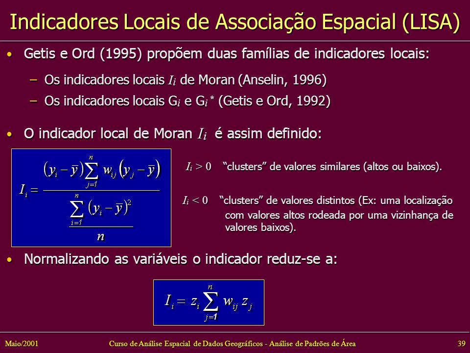 Curso de Análise Espacial de Dados Geográficos - Análise de Padrões de Área39Maio/2001 Getis e Ord (1995) propõem duas famílias de indicadores locais: Getis e Ord (1995) propõem duas famílias de indicadores locais: –Os indicadores locais I i de Moran (Anselin, 1996) –Os indicadores locais G i e G i * (Getis e Ord, 1992) O indicador local de Moran I i é assim definido: O indicador local de Moran I i é assim definido: I i > 0 clusters de valores similares (altos ou baixos).