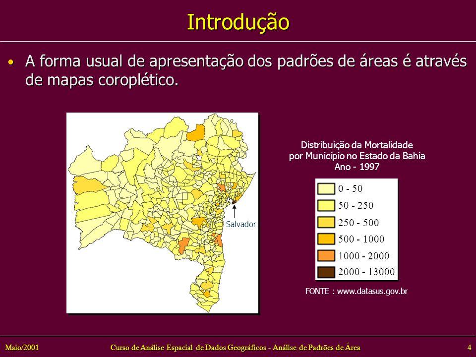Curso de Análise Espacial de Dados Geográficos - Análise de Padrões de Área4Maio/2001 Introdução Distribuição da Mortalidade por Município no Estado da Bahia Ano - 1997 0 - 50 50 - 250 250 - 500 500 - 1000 2000 - 13000 1000 - 2000 FONTE : www.datasus.gov.br Salvador A forma usual de apresentação dos padrões de áreas é através de mapas coroplético.