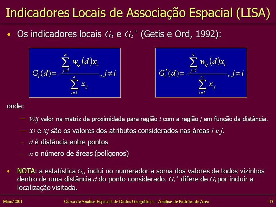 Curso de Análise Espacial de Dados Geográficos - Análise de Padrões de Área43Maio/2001 Os indicadores locais G i e G i * (Getis e Ord, 1992): Os indicadores locais G i e G i * (Getis e Ord, 1992):onde: –w ij valor na matriz de proximidade para região i com a região j em função da distância.
