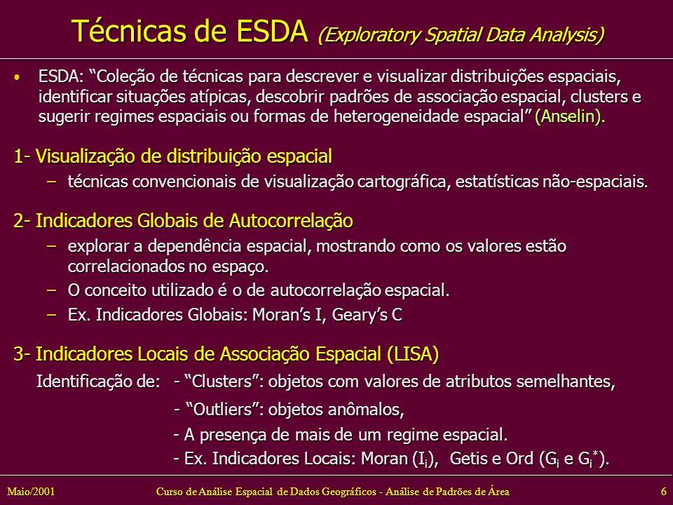 Curso de Análise Espacial de Dados Geográficos - Análise de Padrões de Área6Maio/2001 Técnicas de ESDA (Exploratory Spatial Data Analysis) ESDA: Coleção de técnicas para descrever e visualizar distribuições espaciais, identificar situações atípicas, descobrir padrões de associação espacial, clusters e sugerir regimes espaciais ou formas de heterogeneidade espacial (Anselin).