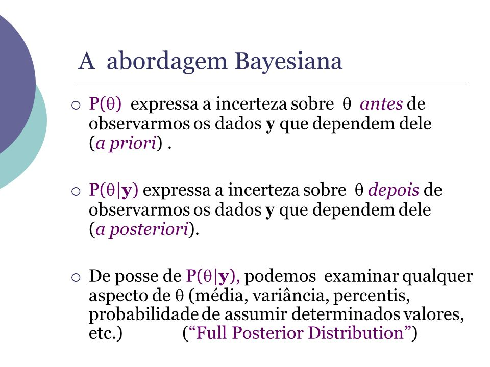 P( ) expressa a incerteza sobre antes de observarmos os dados y que dependem dele (a priori). P( |y) expressa a incerteza sobre depois de observarmos