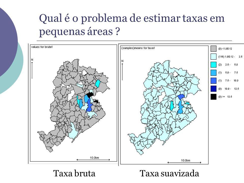 Qual é o problema de estimar taxas em pequenas áreas ? Taxa brutaTaxa suavizada