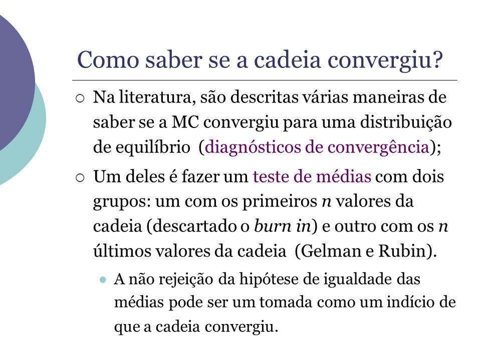 Como saber se a cadeia convergiu? Na literatura, são descritas várias maneiras de saber se a MC convergiu para uma distribuição de equilíbrio (diagnós