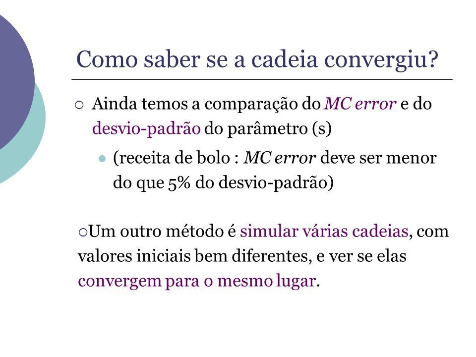 Como saber se a cadeia convergiu? Ainda temos a comparação do MC error e do desvio-padrão do parâmetro (s) (receita de bolo : MC error deve ser menor