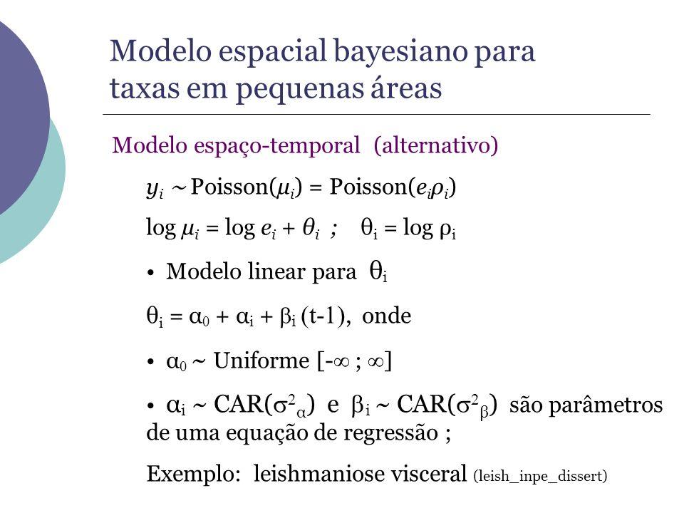 Modelo espacial bayesiano para taxas em pequenas áreas Modelo espaço-temporal (alternativo) y i Poisson(µ i ) = Poisson(e i ρ i ) log µ i = log e i +