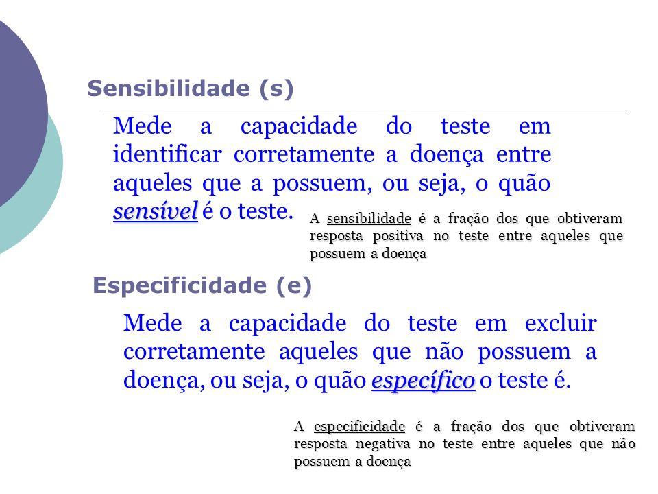 Sensibilidade (s) Especificidade (e) sensível Mede a capacidade do teste em identificar corretamente a doença entre aqueles que a possuem, ou seja, o