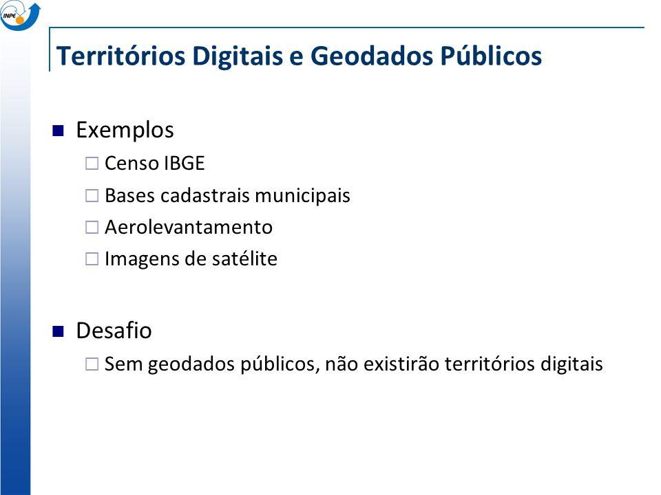 Territórios Digitais e Geodados Públicos Exemplos Censo IBGE Bases cadastrais municipais Aerolevantamento Imagens de satélite Desafio Sem geodados públicos, não existirão territórios digitais