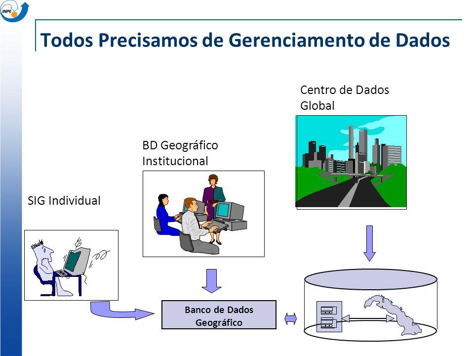 Todos Precisamos de Gerenciamento de Dados SIG Individual BD Geográfico Institucional Centro de Dados Global Banco de Dados Geográfico