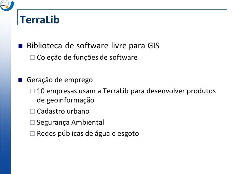 TerraLib Biblioteca de software livre para GIS Coleção de funções de software Geração de emprego 10 empresas usam a TerraLib para desenvolver produtos de geoinformação Cadastro urbano Segurança Ambiental Redes públicas de água e esgoto