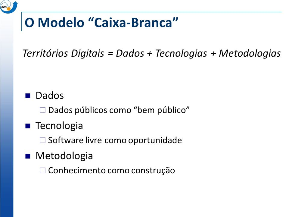 Dados Dados públicos como bem público Tecnologia Software livre como oportunidade Metodologia Conhecimento como construção O Modelo Caixa-Branca Territórios Digitais = Dados + Tecnologias + Metodologias