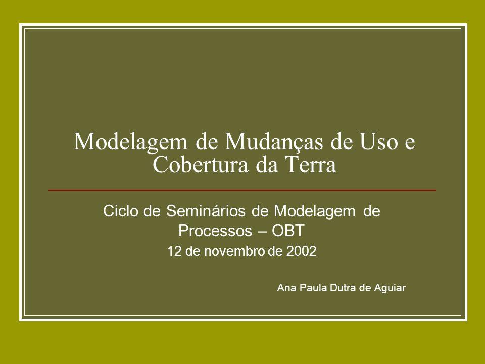 Objetivo da apresentação Apresentar visão geral sobre objetivos e tipos de Modelos de Mudanças de Uso e Cobertura da Terra (Land Use and Cover Change - LUCC), de modo a prover subsídios para discussão sobre modelagem LUCC na OBT.
