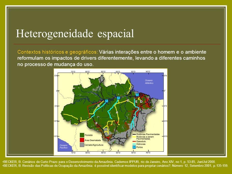 Heterogeneidade espacial BECKER, B. Cenários de Curto Prazo para o Desenvolvimento da Amazônia. Cadernos IPPUR, rio de Janeiro, Ano XIV, no 1, p. 53-8
