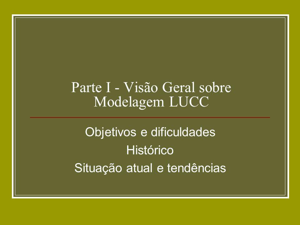 Parte I - Visão Geral sobre Modelagem LUCC Objetivos e dificuldades Histórico Situação atual e tendências